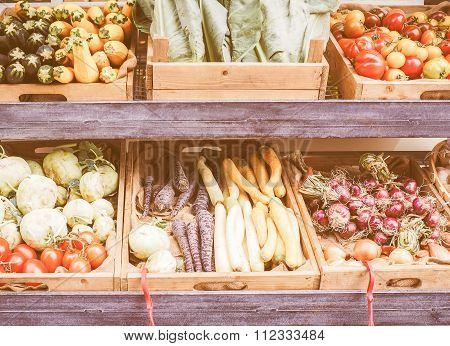 Retro Looking Vegetables Store