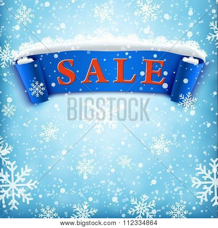 Winter sale background with BLUE realistic ribbon