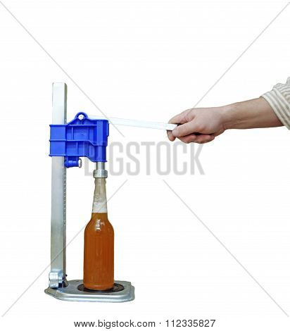 Bottle Capping Machine On Table