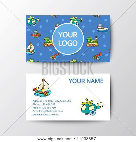 Business card with kids toys.