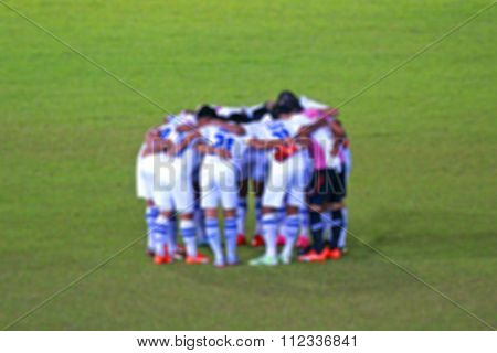 Blur Image Of Thai Soccer Players