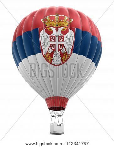 Hot Air Balloon with Serbian Flag. Image with clipping path