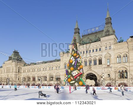 Christmas Big Rink On Red Square
