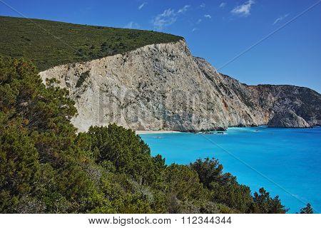 Landscape of Porto Katsiki Beach, Lefkada, Ionian Islands