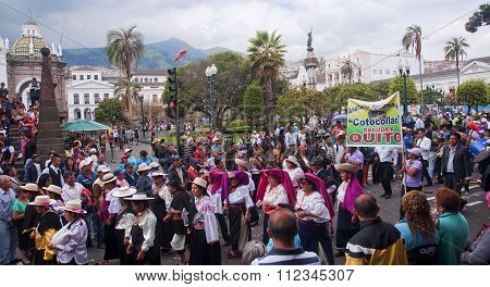 Quito, Ecuador - November 25, 2015: Parade On Independence Squar