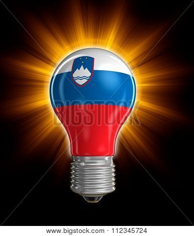 Light bulb with Slovene flag.  Image with clipping path