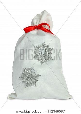 White Sack And Snowflakes