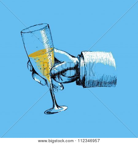 Sketch illustration of a hand holding a glass of champagne