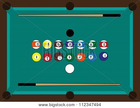 Billiard table, billiard balls