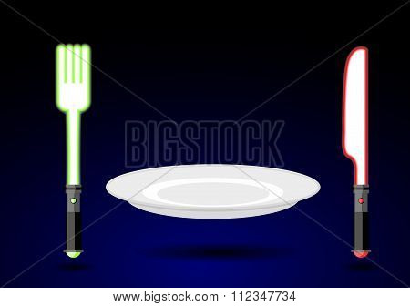 Cutlery From Future. Knife And Fork As Lights Sword. An Empty Plate In Weightlessness. Cutlery Acces
