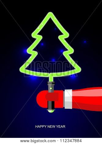 Green Christmas Tree Energy Of  Plasma. Lightsaber In Form Of Tree. Holiday Accessories From Future.