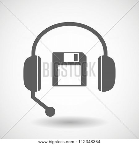 Remote Assistance Headset Icon With  A Floppy Disk
