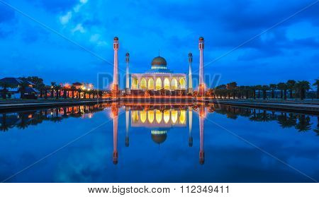 Songkhla Central Mosque At Night, Hatyai, Songkhla, Thailand