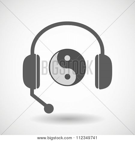 Remote Assistance Headset Icon With  A Ying Yang