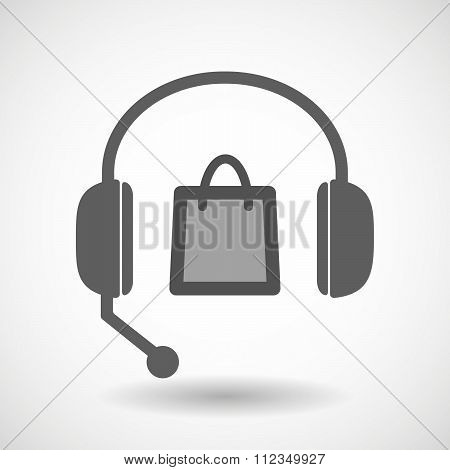 Remote Assistance Headset Icon With  A Shopping Bag