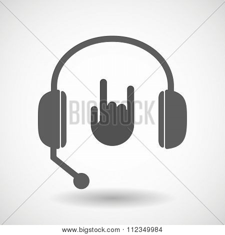 Remote Assistance Headset Icon With  A Rocking Hand