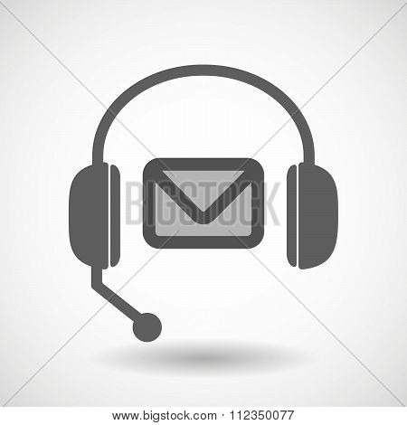Remote Assistance Headset Icon With  An Envelope