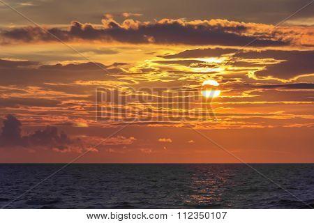 Golden Sunset Over Sea
