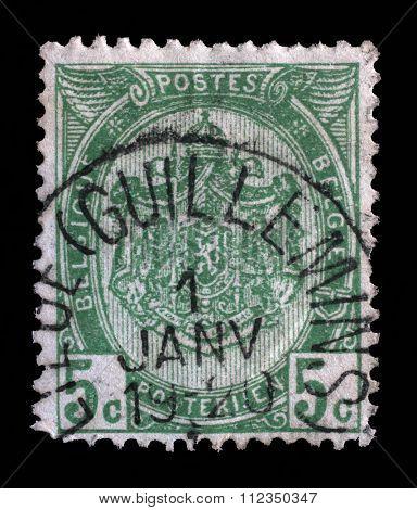 BELGIUM - CIRCA 1893: Stamp printed in Belgium shows Belgian coat of arms, circa 1893