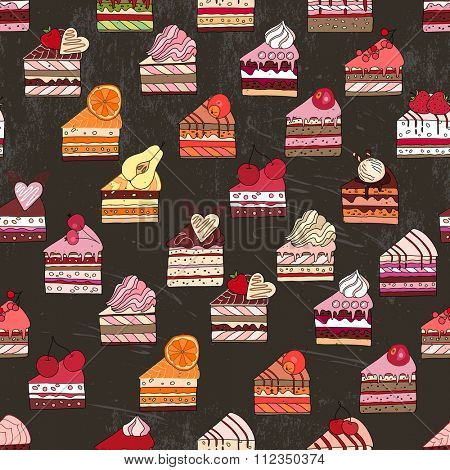 Seamless pattern with cake slices. Different taste and color.