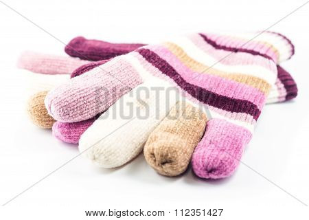 Winter Gloves On White Background