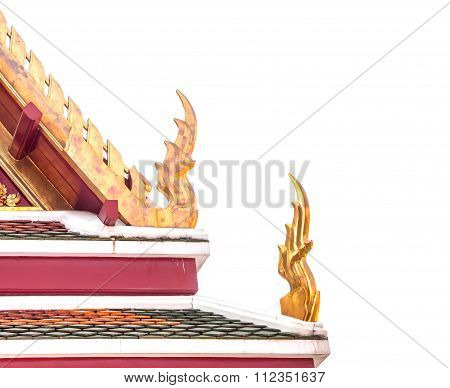 Gable Apex Of Thailand Temple Roof Isolated On White
