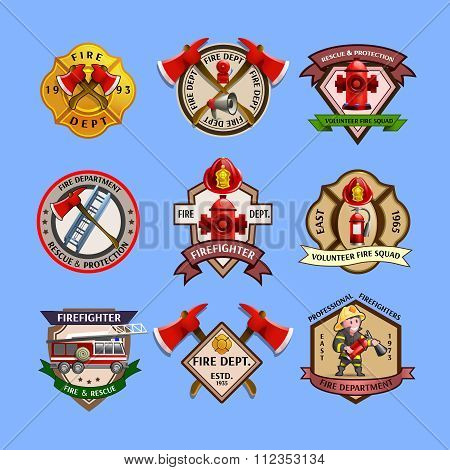 Firefighters Emblems Labels Collection