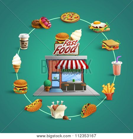 Fastfood Restaurant Pictograms Circle Composition Banner