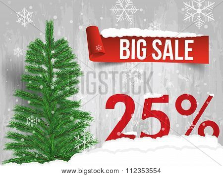 Winter Sale 25 Percent. Winter Sale Background With Red Ribbon Banner And Snow. Sale. Winter Sale. C