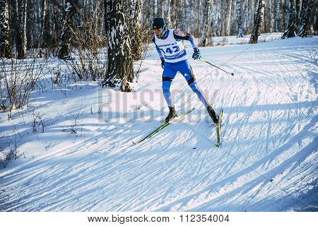 young skier athlete winter birch forest sprint race in classic style