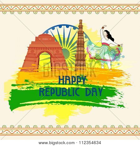 Happy Indian Republic Day celebration concept with famous Historical Monuments, Ashoka Wheel and traditional dancing girl.