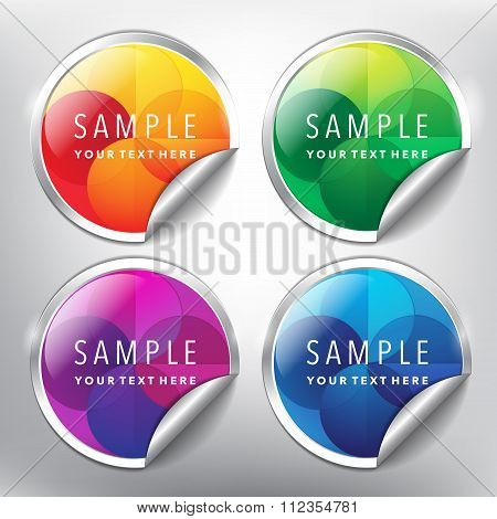 Sale stickers with abstract ornament design set of 4