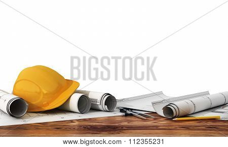 Concept Of Construction And Design. 3D Render Of Blueprints And Designer Tools On The Panorama Of Co