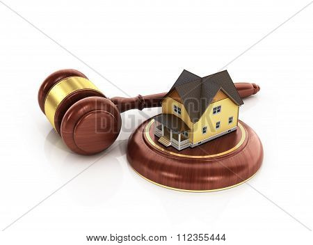 House Auction Concept. 3D Illustration Of Wooden Gavel With House On White Background.