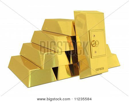 Safe deposit in golden bars
