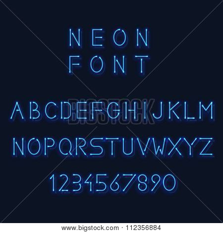 Neon light alphabet. Vector letters and number. Minimalistic linear sans-serif font