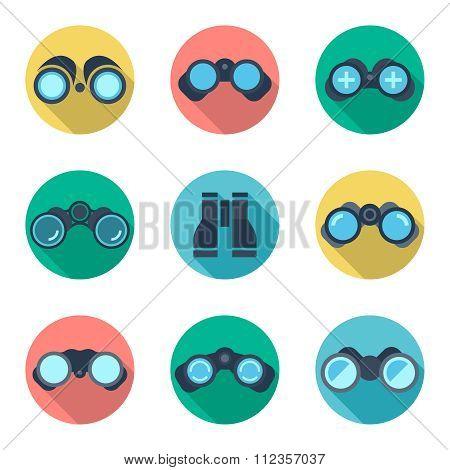 Binoculars flat vector icons set