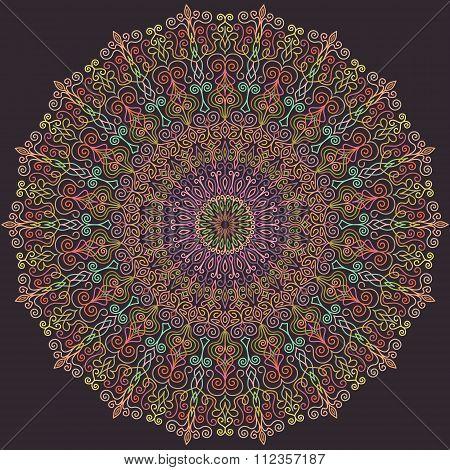 Blue and Pink Line Mandala