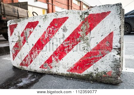 Road Block With Red And White Diagonal Pattern