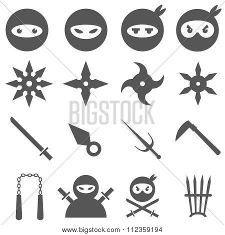 Ninja, samurai and weapons vector icons set