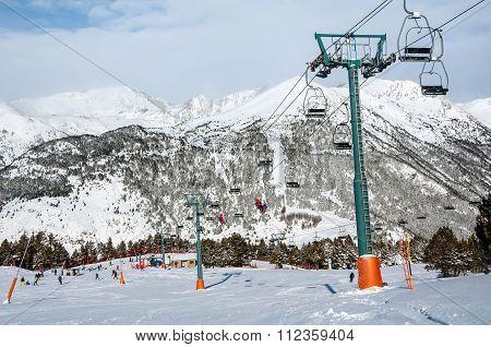 Slopes Of Winter Resort El Tarter In Andorra
