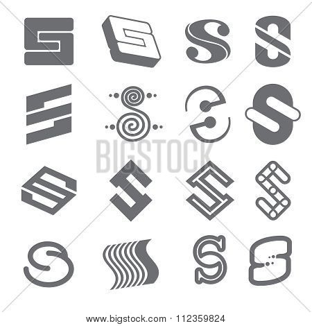Geometric shapes for S letter logo and monogram. Abstract vector elements