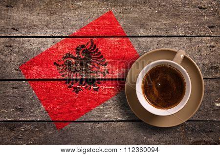 Albania Flag With Coffee