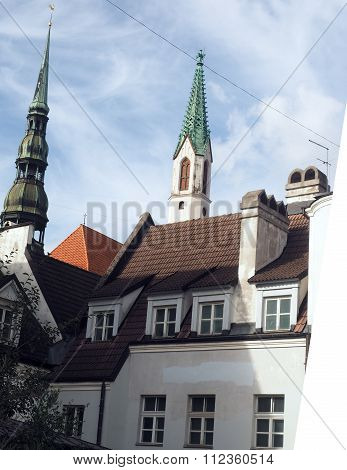 medieval buildings architecture ancient  Riga Latvia Europe