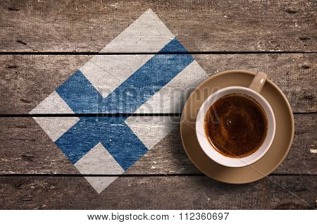 Finland Flag With Coffee