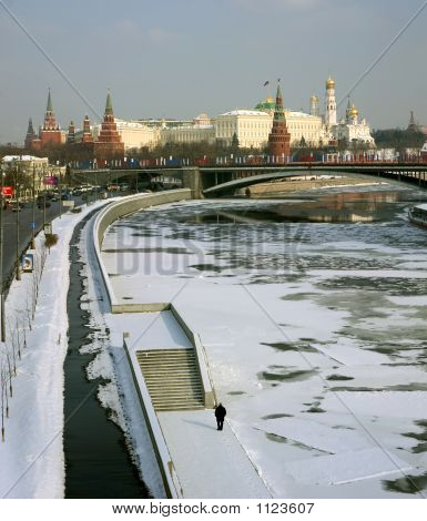 Moscow, Kremlin,  Quay Of Moskow-River.