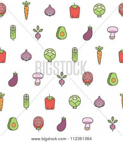 seamless pattern with vegetables icons. on white background