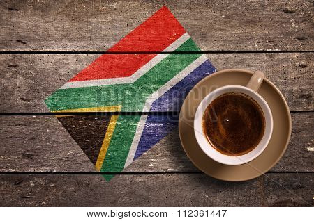 South Africa Flag With Coffee