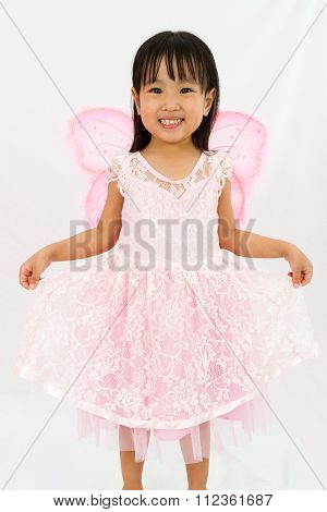 Chinese Little Girl Wearing Butterfly Custome