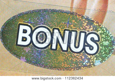Coquitlam BC Canada - December 19, 2015 : Close up bonus section on lottery ticket. The British Columbia Lottery Corporation has provided government sanctioned lottery games in BC since 1985.